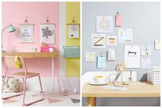 Pastels are more softly spoken than their bright counterparts and instill a sense of calm and sophistication - perfect traits for a workspace. Pastel Colors, Colours, Pastel Walls, Den Ideas, Pastel Pencils, Hanging Art, Office Desk, Gallery Wall, Room Decor