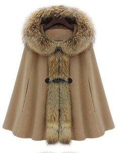 Coats Camel Fur Hooded Buckle Ruffles Cape Coat I can see some hot boots with then and black leggins with the seam down the front. I need this now