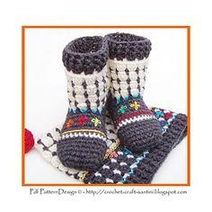Fair Isle Sock-Boots for Kids Crochet Pattern por PdfPatternDesign Crochet Ball, Crochet Hooks, Kids Patterns, Crochet Patterns, Crochet Stitches, Crochet Slippers, Crochet For Kids, Crochet Children, Sock Shoes
