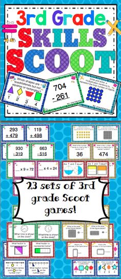 3rd Grade Math Skills Scoot Game - Make math class something to look forward to! Scoot is a fast paced, whole class game that is simple to make and LOTS of fun! Your students will have a blast working on 3rd grade math skills with this set of 23 Scoot games! These Scoot cards are also great for centers and small groups! $