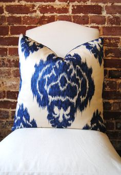 Martha and Ash Image of Blue Flower Ikat