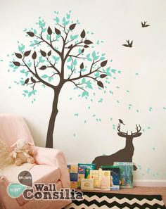 Decorative+house+tree+decal+with+a+deer+–+Wall+tree+decals