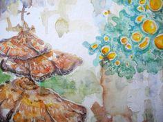Aquarell Baumpilze - Ausschnitt Gesche Santen