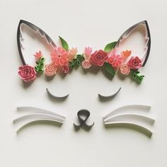 Flower crown cat, wall art, art of - Quilling Paper Crafts Paper Quilling Cards, Paper Quilling Flowers, Quilling Animals, Paper Quilling Patterns, Quilled Paper Art, Quilling Paper Craft, Paper Crafts, Quilling Flower Designs, Quilling Ideas