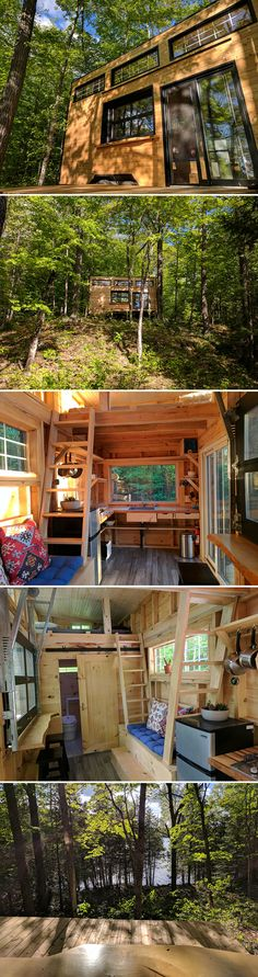 The Auburn tiny cabin is available for nightly rental in the woods of Ontario, Canada, 10 minutes outside the quaint village of Sharbot Lake.