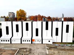 AudioMural NCK 800 m2 ||| 12 days ||| 17 people ||| Nowa Huta Cultural Center in Cracow, Poland ||| October 2013 Art Pieces, Community Art, Graffiti, Sculptures, Installation, Art, Street Art, Art World