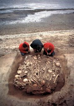 A mass human grave uncovered at a beach - The Weird Picture Archive
