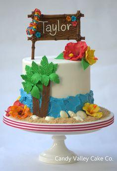 luau cake- one layer Hawaiian Birthday Cakes, Themed Birthday Cakes, Hawaiian Luau, Themed Cakes, Hawaiian Parties, Hawaiian Theme, Luau Cakes, Beach Cakes, Bolo Dino