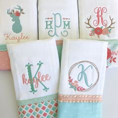 Let the burping begin! Baby Girl Embroidery Ideas, Baby Embroidery, Embroidery Monogram, Applique Embroidery Designs, Baby Burp Cloths, Burp Cloth Set, Baby Applique, Baby Sheets, Baby Sewing Projects