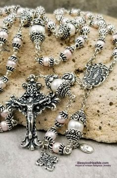Our Lady of Lourdes White Blush Pink Pearls Sterling pltd Ornate Handcrafted Rosary Femininity,Purity,Prosperity,Protection,Balance Gold Rosary, Rosary Beads, Catholic Jewelry, Rosary Catholic, Mother Of Pearl Jewelry, Our Lady Of Lourdes, Pink Pearls, Amber Beads, Gold Filled Jewelry