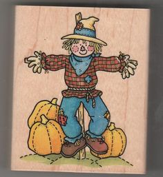 SCARECROW  GREAT CONDITION USED FALL HALLOWEEN Rubber STAMPEDE #STAMPEDE #SCARECROW
