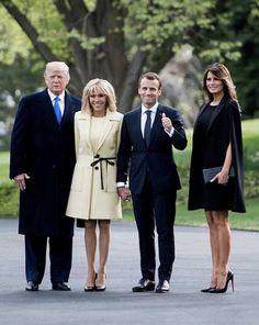 President, First Lady Melania Trump & French President Emmanuel Macron & wife Brigitte