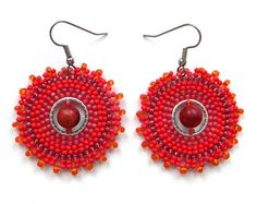 Red Hoop Seed Bead Earrings with coral - Circular earrings, summer jewelry, bohemian style, ethnic