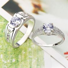 Fashion His & Hers Matching CZ Couple Sterling Silver Rings Wedding Band Set