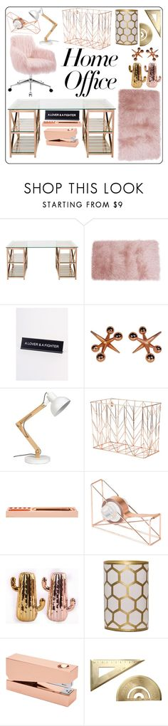 """""""Pink and gold office!"""" by iamgl2002 ❤ liked on Polyvore featuring interior, interiors, interior design, home, home decor, interior decorating, Safavieh, He Said, She Said, U Brands and Tom Dixon"""