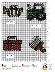 MAGNETS 22 PAGE 5 by TDL **TUBA, TRACTOR, TOOLBOX AND PAINT BRUSH** Plastic Canvas Stitches, Plastic Canvas Coasters, Plastic Canvas Ornaments, Plastic Canvas Crafts, Plastic Canvas Patterns, Etsy Crafts, Yarn Crafts, Cross Stitch Charts, Cross Stitch Patterns