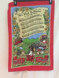 "This cotton banner is in Welsh. It is a song entitled ""The Land of My Fathers"". This banner measures approximately 19 inches wide by 29 inches long Vintage Artwork, My Father, Artwork Prints, Wales, Banner, Nice, Cotton, Ebay, Banner Stands"