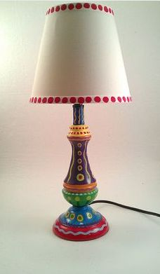 Hand painted lamp with crazy colors funky painted furniture, old furniture, colorful furniture, Whimsical Painted Furniture, Painted Chairs, Hand Painted Furniture, Paint Furniture, Furniture Projects, Furniture Makeover, Painted Lamp, Funky Furniture, Colorful Furniture