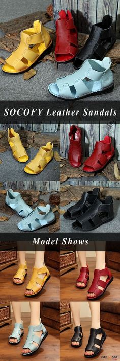 US$38.55+Free shipping. Size(US): 5~9. Summer Sandals, Women Flat Sandals, shoes flats, shoes sandals, Casual, Outdoor, Comfortable. Color: Black, Yellow, Blue. Heel Height: 2.5cm. Platform Height: 2.5cm. Upper Material: Genuine Leather. Outsole Material: Rubber.