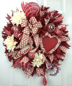 Deco Mesh Valentines Wreath with Red White Welcome Sign by SouthernCharmWreaths #valentines #decoration #door