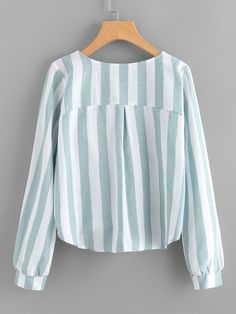 Shop Contrast Stripe Tassel Tie Surplice Blouse at ROMWE, discover more fashion styles online. Modern Hijab Fashion, Colorful Fashion, Girls Fashion Clothes, Fashion Outfits, Clothes For Women, Blouse Styles, Blouse Designs, Sleeves Designs For Dresses, Gland