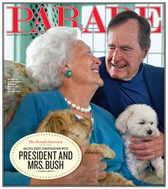 Highlights from the PARADE interview with President George Bush and First Lady Barbara (MediaQuire) This Sunday's issue of PARADE magazine features Us History, History Facts, American History, Presidents Wives, American Presidents, George Bush Family, First Lady Of America, Presidential History, Presidential Portraits
