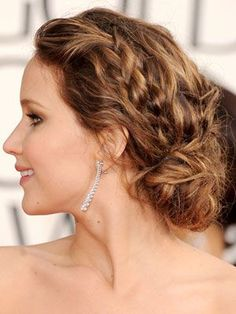 Fashion and Shopping – Fashion Tips and Style Advice Hot celebrity hairstyles for every hair type: Jennifer Lawrence Latest Hairstyles, Celebrity Hairstyles, Braided Hairstyles, Wedding Hairstyles, Braided Updo, Messy Updo, Hairstyles Haircuts, Twisted Updo, Gorgeous Hairstyles