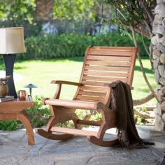 With the spirit of Adirondack styling and the smooth sensibility of front-porch rocking, this Belham Living Avondale Oversized Outdoor Rocking Chair - Natural brings together all the best of outdoor lounging. Rocking Chair Plans, Outdoor Rocking Chairs, Patio Chairs, Adirondack Chairs, Wooden Chairs, Front Porch Chairs, Blue Chairs, White Chairs, Porch Swing