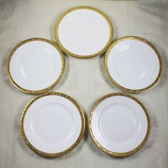 Set of 5 Royal Bayreuth Bavarian Gold Trimmed White China Small Bread Plates & Masterpiece Gold Plates 9