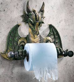 What good is a Knight Toilet Paper Holder if he doesn't have a Dragon to battle? This realistic looking Dragon Bath Tissue Holder may have friends and family Taverna Medieval, Creation Deco, Gothic Home Decor, Gothic House, Bathroom Wall Decor, Guys Bathroom, Office Bathroom, Bathroom Humor, Bathroom Ideas
