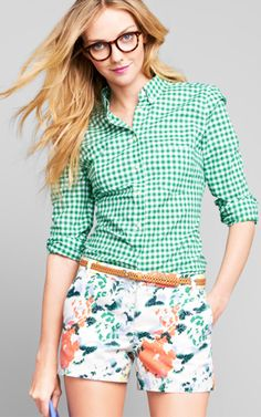 Gap Spring::gingham shirt, floral shorts and tortoise shell glasses.