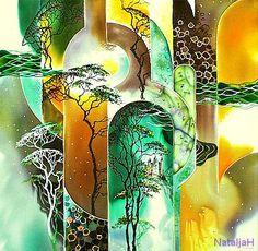 Картины в технике Батик Зеленый берег 50х55 (3500) копия Л.Горбаля