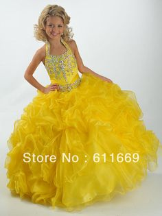 Wholesale - Hot Selling All sorts of color Organza Crystal Ruffle Bottom  Girl's Pageant Dresses Ball Gown CD201415411 US $69.90