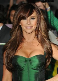 Gorgeous brown highlight hair with swooping bangs