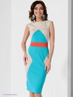 Платье Olga Skazkina. Цвет бирюзовый, бежевый, красный. Есть отзывы покупателей. Стильное платье с округлым вырезом горловины - интернет-маг...