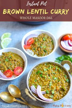Whole Masoor Dal Recipe (Brown Lentils Curry) Enjoy this delicious & healthy Whole Masoor Dal, also known as Brown Lentils Curry, made in the Instant Pot or Stovetop Pressure Cooker. Lentil Recipes, Veg Recipes, Curry Recipes, Indian Food Recipes, Vegetarian Recipes, Cooking Recipes, Healthy Recipes, Instant Pot Pressure Cooker, Pressure Cooker Recipes