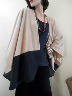Beige and Black Two Tone Ruana Wrap/Oversize Poncho/Shawl/Women Cape/Lightweight Jacket/Stole/Gift for Her/Plus Size/Boho/Kimono/Cardigan Poncho Shawl, Kimono Cardigan, Ruana Wrap, Capes For Women, Boho Kimono, How To Look Classy, Lightweight Jacket, Fall Outfits, Bell Sleeve Top