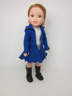 14.5 inch doll clothes - Royal blue Hyde park hoodie by JazzyDollDuds.