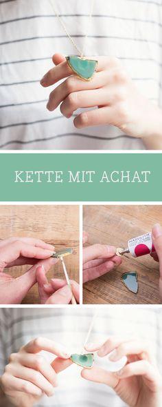 Schmuck selbermachen: Kette mit Achat-Anhänger basteln / diy jewelry: craft a necklace with agate stone pendant via DaWanda.com