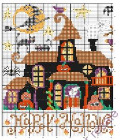 Points de croix *<3* Cross stitch  Halloween  -Hauted house