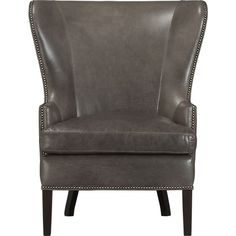 This was my Christmas gift from hubby! I have it in the bedroom- love it!!! Dylan Leather Wingback Chair in Chairs | Crate and Barrel