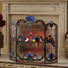 """Birds on a Wire"" Stained Glass Fireplace Screen, Seventh Avenue"