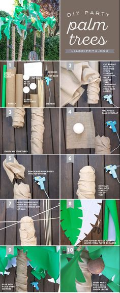 DIY Palm Tree Party Decor - Lia Griffith DIY Palm Tree Party Decor - Lia Griffith<br> Make your own statement party decor for a beach party or Luau with this over-sized palm tree decoration from handcrafted lifestyle expert Lia Griffith. Palm Tree Crafts, Palm Tree Decorations, Diy Baby Shower Decorations, Jungle Decorations, Decoration Party, Deco Jungle, Jungle Party, Jungle Theme, Palm Tree Leaves