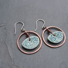 Missy-Handmade Copper and Blue Porcelain Earrings by For My Sweet Daughter