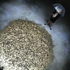 """Raining coins at """"Danae"""" by Vadim Zakharov"""