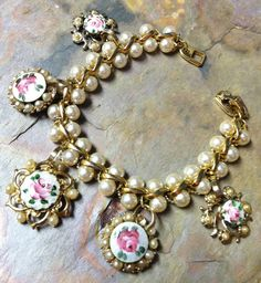 Spring Jewelry Guilloché Pearl Bracelet Pink Rose by WillowBloom