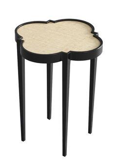tini IV cocktail table tricorn black linen.  Love the quatrafoil table.
