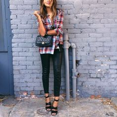 Plaid High Heels...  plaid shirt, flannel shirt, black leather skinnies, leather pants, ankle strap heels, fall, chanel quilted black pants