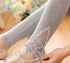 e338904d615 Spring Autumn Thin Women Cotton Knitted Short Leggings Hollow Out Lace  Diamond Print Flower Thin