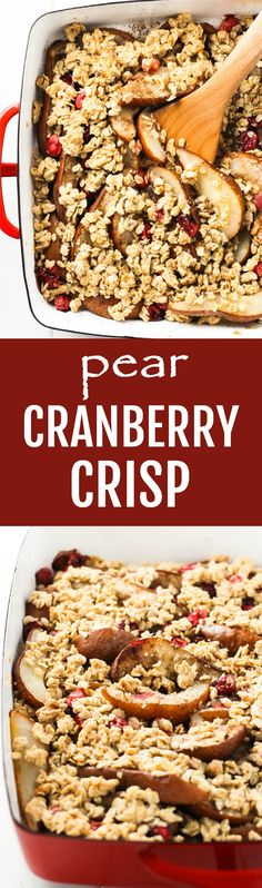 This pear cranberry crisp is made with old-fashioned rolled oats, almond meal, maple syrup, coconut oil, and cardamom. This fruit-based dessert is filling and comforting and will satisfy the craving for something sweet in a healthy way. Low in sugar and refined sugar free, flourless, gluten-free.